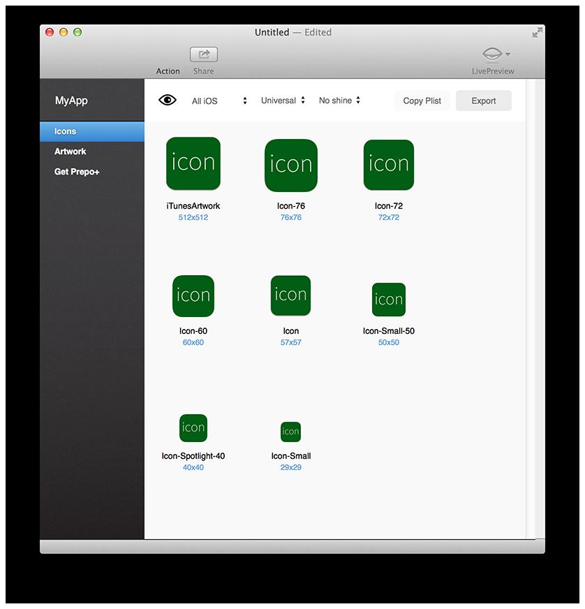各種サイズのアイコンファイルが自動生成される